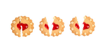 Biscuits. Tree broken hearts. Royalty Free Stock Photo