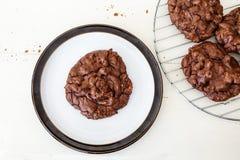 Biscuits triples de chocolat Photos stock