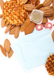 biscuits, waffles, fruit jelly and fork and napkin  on white background Stock Photography