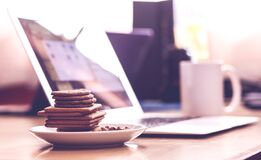 Biscuits in White Saucer Stock Photography