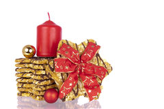 Biscuits Xmas ribbon balls candle Stock Photography