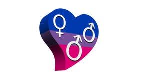 Biseksuele mens in het hart van de vlagkleur stock illustratie