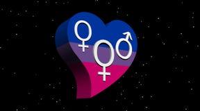 Biseksuele vrouw in het hart van de vlagkleur in 's nachts Stock Foto's