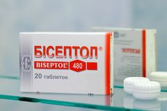Biseptol box. Kiev/Ukraine - August 27, 2017 - Biseptol box. Eliminates bacteria causing many kinds of infections, including pneumonia and urinary tract and Stock Photo