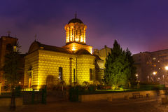 Biserica Sfantul Anton at night in Bucharest Stock Photography