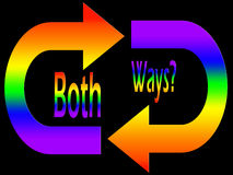 Bisexual?. Using the colors of the rainblow flag and never-ending arrows to ask the question BOTH WAYS? in relation to sexuality Royalty Free Stock Photo