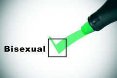 Bisexual. A check mark drawn with a green marker pen on a checkbox with the word bisexual stock photo