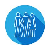 Bisexual icon with long shadow. Element of LGBT illustration. On white background vector illustration