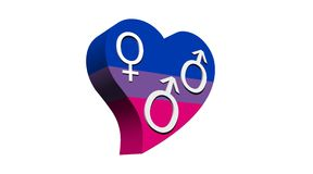 Bisexual man love. One woman and two men symbols symbolizing a bisexual man in flag color heart in white background Royalty Free Stock Image