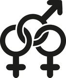 Bisexual sign love. Bisexual vector Stock Image