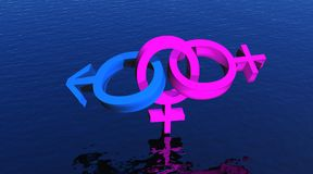 Bisexual woman upon ocean. Two pink female symbols and one blue male symbol representing a bisexual woman upon ocean vector illustration