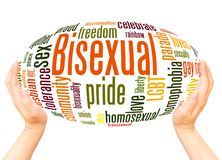 Bisexual word cloud hand sphere concept. On white background royalty free stock photography
