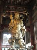 Bishamonten watching over Tōdai-ji. In Japan, Bishamonten is thought of as an armor-clad god of war or warriors and a punisher of evildoers. Bishamon is royalty free stock photos