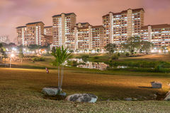 Bishan Park. HDB high rise housing in singapore along the park.Beautiful colorful night Stock Images