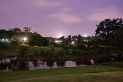 Bishan Park at Night. Along the river of bishan park Stock Photos