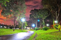 Bishan Park's walkway by night Royalty Free Stock Photos