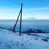 Bishkek in fog stock photography