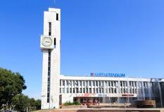 Bishkek, Kirguistán - 25 de agosto de 2016: Edificio Kyrgyztelekom c foto de archivo