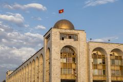 Building in oriental style during sunset near Ala-Too Square. Bishkek formerly Frunze. Is the capital and the largest city of the Kyrgyz Republic stock images
