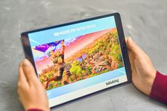 Fortnite Gameplay on ipad. Bishkek, Kyrgyzstan - January 21, 2019: Woman playing fortnite game of epic games company on Apple ios tablet iPad Pro stock image