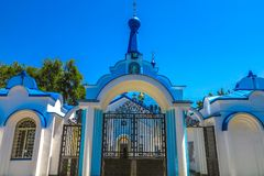 Bishkek Orthodox Cathedral 02. Bishkek Holy Resurrection Russian Orthodox Cathedral Blue Colored Main Entrance Gate royalty free stock images