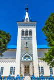 Bishkek Orthodox Cathedral 01. Bishkek Holy Resurrection Russian Orthodox Cathedral Blue Colored Roof Bell Tower royalty free stock photo