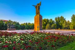 Bishkek Revolution Fighters. Monument Public Park at Picturesque Breathtaking Sunset royalty free stock photography