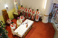 Bishop caibingrui presided over the ceremony Stock Photo