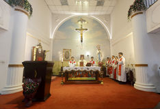Bishop caibingrui presided over the ceremony Stock Images