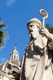 Bishop of Catania. Closeup of a baroque statue of a bishop, located in front of the cathedral of Catania in Sicily Stock Image