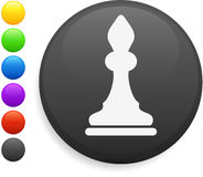 Bishop chess piece icon on round internet button Royalty Free Stock Image