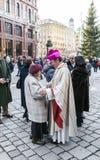 Bishop Franz Scharl greets Stock Images