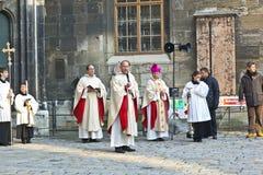 Bishop Franz Scharl is praying for the unborn children Stock Images
