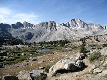 Bishop Lake. Is in the Sierra Nevada Mountains of California. When approaching the John Muir Trail from the eastern Sierra, a popular lateral is to start at stock photo