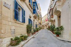 Bishop Palace Street in Vittoriosa, Malta Stock Image