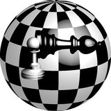 Bishop and pawn in a ball. Chess balls with 3D pawns and bishop Royalty Free Stock Images