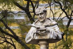 Bishop San Pedro Pascual Statue Bust Baroque Style Antigua Guatemala royalty free stock images