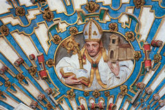 Bishop sculpture in Burgos Cathedral, Spain Royalty Free Stock Photo