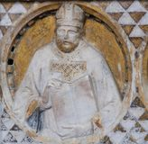 Bishop sculpture in the Church of Sant Agostino in San Gimignano Royalty Free Stock Images