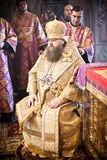 The bishop sits during ordination. Orthodox liturgy with bishop Mercury in High Monastery of St Peter in Moscow on March 14, 2010 in Moscow Stock Photos