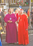 Bishops at the birth of new University. An image of two Bishops in the parade through the streets of Inverness at the birth of the new University of the royalty free stock images