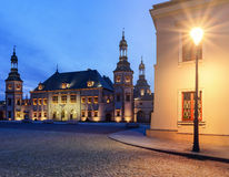 Bishops Palace and lantern in Kielce, in the evening. Royalty Free Stock Images