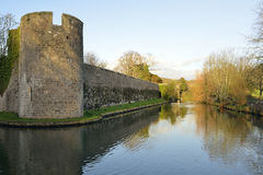 Bishops Palace, Wells. Wall & Moat of The Bishops Palace, Wells Stock Photography