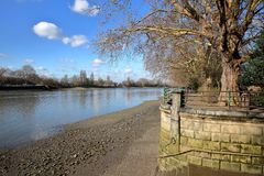 Bishops Park along the river Thames in Winter, Fulham, borough of Hammersmith and Fulham, London, UK. Bishops Park along the river Thames in Winter, Fulham Stock Image