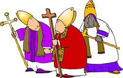 Bishops three. This illustration that I created depicts three Catholic priests in robes Royalty Free Stock Photography