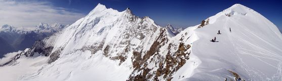 Bishorn panorama. Panorama from Swiss Alps, Weisshorn and Bishorn peaks, above 4000m stock photography