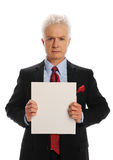 Bisinessman with blank sign Stock Images