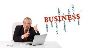 Bisinessman, das am Schreibtisch sitzt und Laptop mit Geschäft wor schaut Stockfotos
