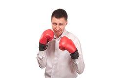 Bisinessman jest ubranym bokserskie rękawiczki Obrazy Stock