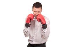 Bisinessman jest ubranym bokserskie rękawiczki Fotografia Royalty Free